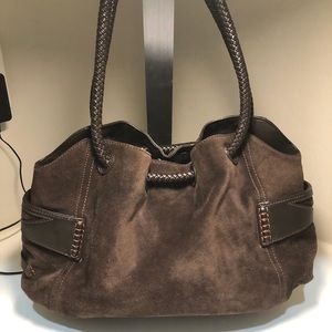 Cole Haan Brown Suede Leather Denney Bag